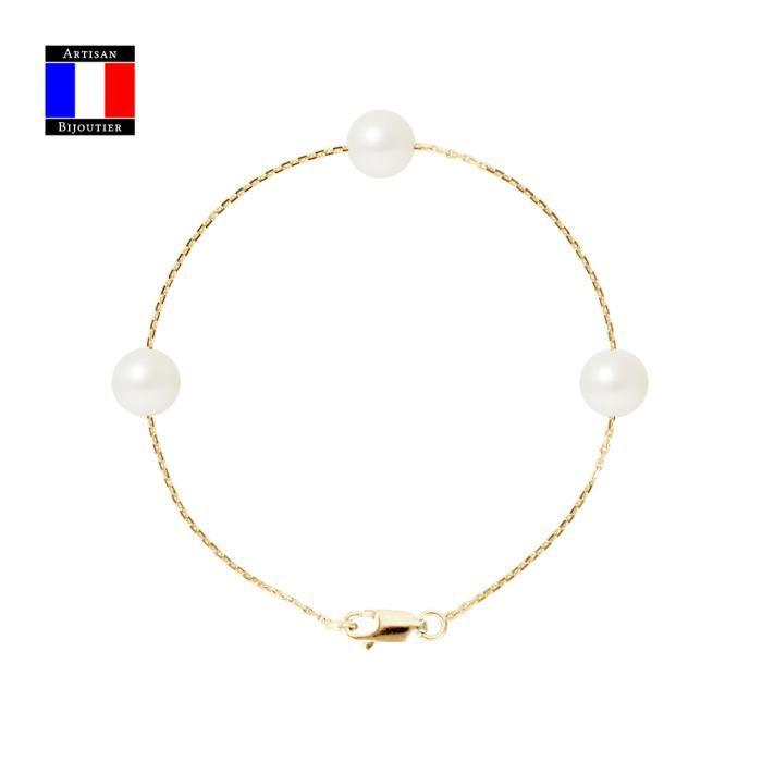 BRACELET - GOURMETTE Bracelet 3 Véritables Perles de Culture de Tahiti