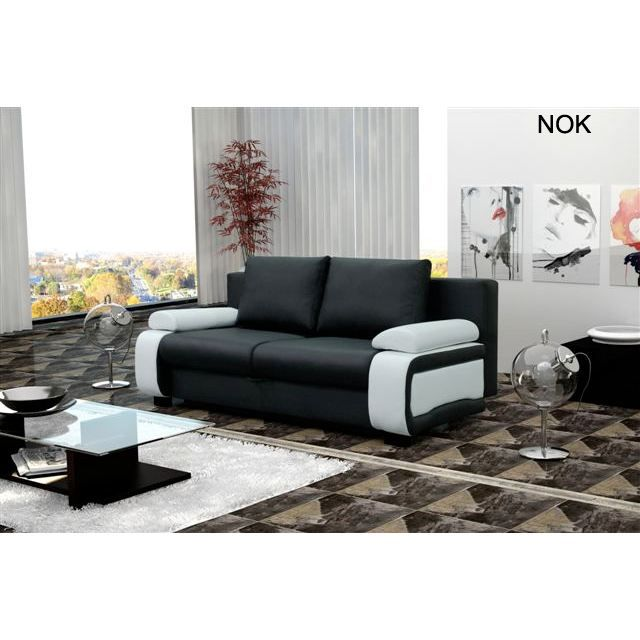 canap convertible nok noir et blanc achat vente canap sofa divan cdiscount. Black Bedroom Furniture Sets. Home Design Ideas
