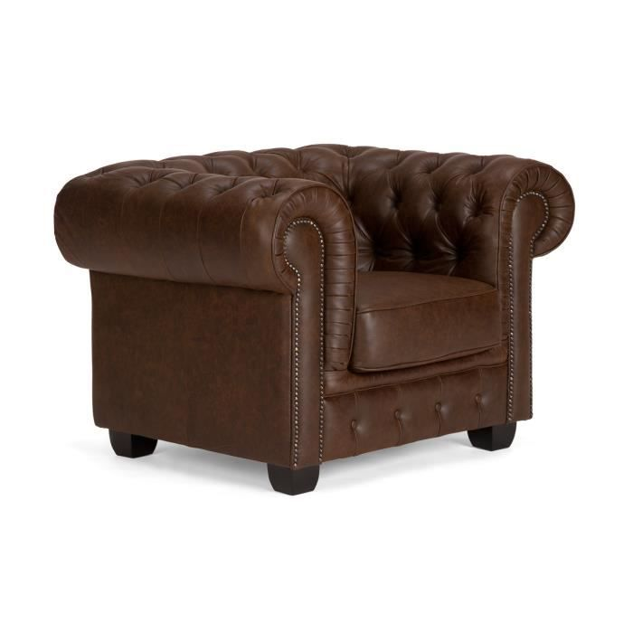 Fauteuil chesterfield en cuir vintage marron massivum - Fauteuil chesterfield occasion ...