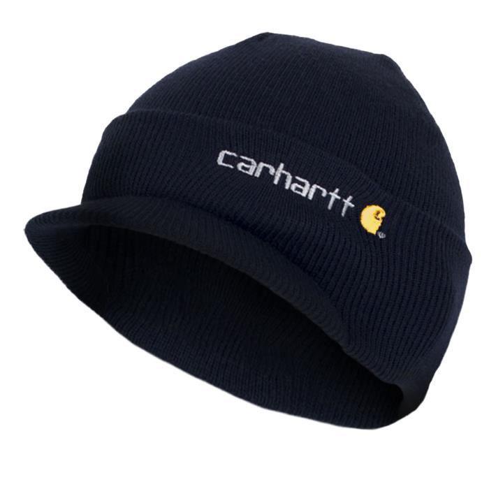 Carhartt , Chapeau Visière d\u2019Hiver , Bleu Marine CHA164NVY Homme Beanie  with peak laine bonnet