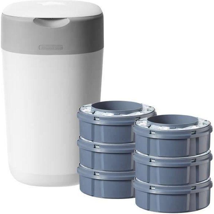 Tube en Carton Inclus Angelcare Liti/ère Litter Locker II |Recharge de sacs Anti-Odeurs /équivalente /à 8 Recharges Sangenic 100 M - ECO Recharge de poubelle /à couches Tommee Tippee Sangenic