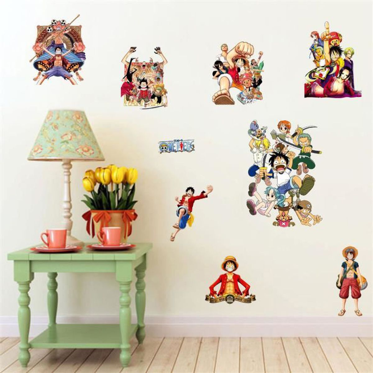 Stickers muraux enfant one piece luffy et son groupe