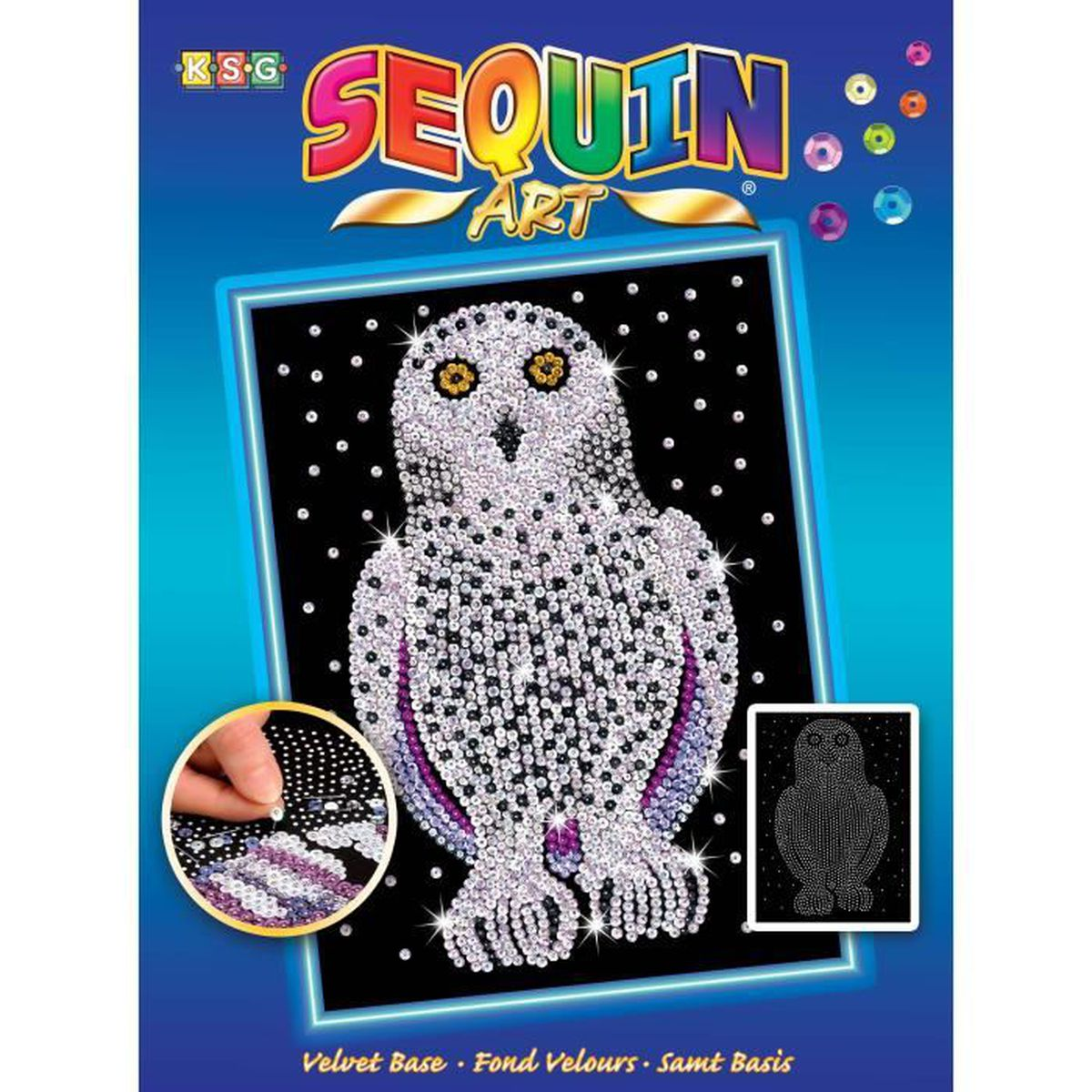 Tableau sequin art harfang des neiges sequin art for Tableau en sequin