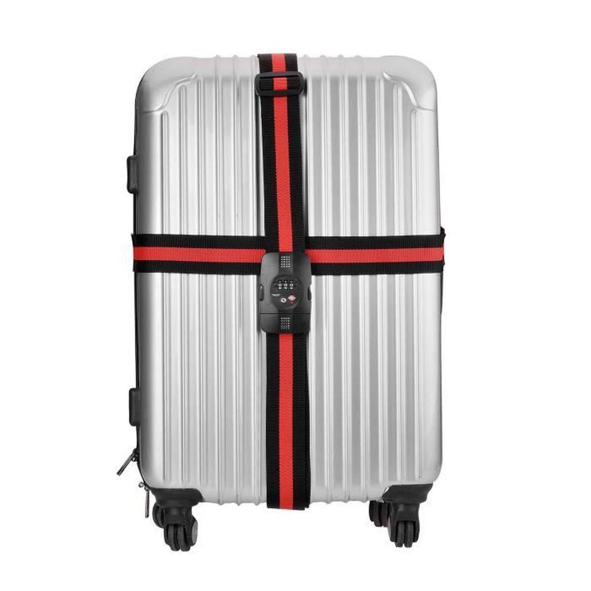 TSA Verrouillage Sangles de Voyage Valise Bagages Sangles /à Bagage Croix r/églable Courroie de Bagage