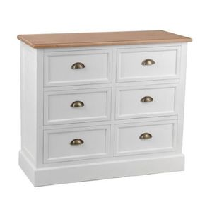 Commode blanche 6 tiroirs achat vente commode de chambre commode blanche - Commode 6 tiroirs blanche ...