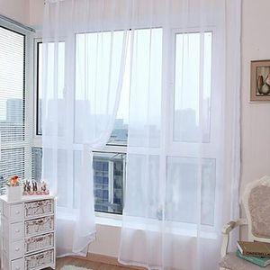 RIDEAU 1 PCS Pure Color Tulle porte fenêtre rideau Drapé