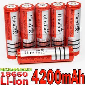 4 BATTERIES PILES ACCUS RECHARGEABLE 18650 4200 mAh 3.7V LITHIUM LI-ION NEUVE