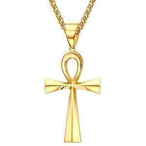 Collier Pendentif Femme Acier Inoxydable Croix Vie Ankh Egyptienne Doré Chaîne
