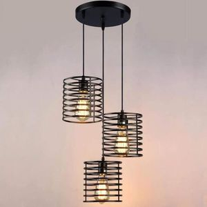 LUSTRE ET SUSPENSION Noir 3 Lustre Suspension Luminaire Industrielle en