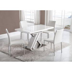 TABLE À MANGER SEULE Table ORION extensible en bois laqué blanc et arge