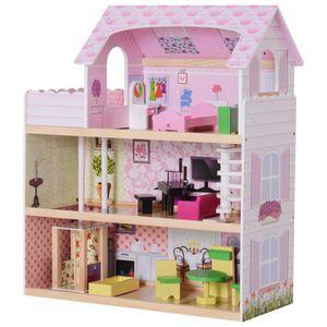 MAISON POUPÉE Maison de poupée en bois jeu d'imitation grand réa