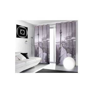 double rideaux new york achat vente double rideaux new york pas cher cdiscount. Black Bedroom Furniture Sets. Home Design Ideas
