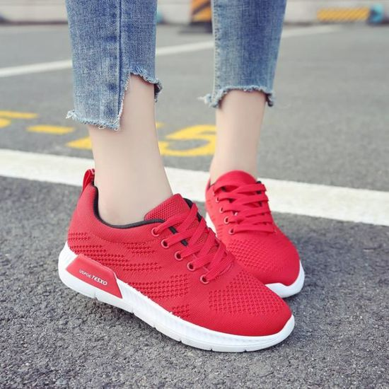 Chaussures femme basket femme sneakers femmes runing shoes Rouge Rouge - Achat / Vente basket
