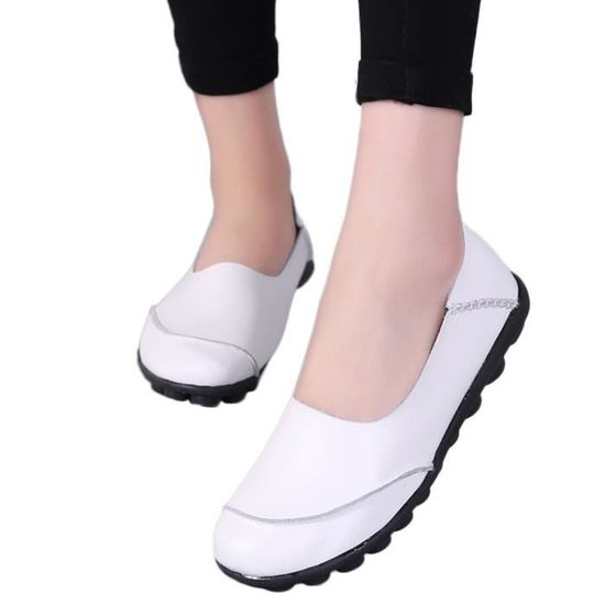 Zareste®Flats Pure Color Soft Bottom Chaussures pour femmes Chaussures Slip-On Casual bateau LJD80329895WH blanc Blanc Blanc - Achat / Vente slip-on