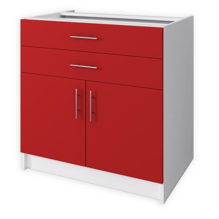 City Meuble Bas De Cuisine L 80 Cm Rouge Laqu Brillant