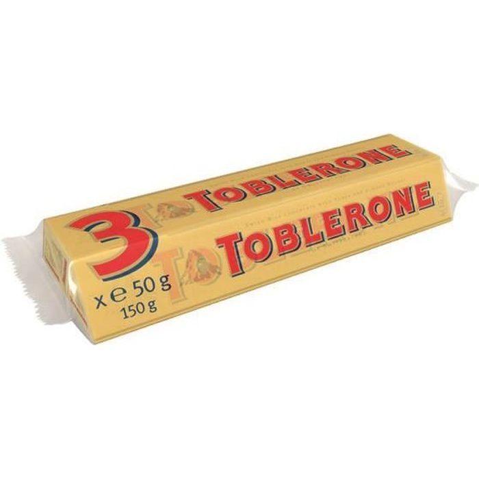 TOBLERONE Chocolat Suisses au lait, tendre nougat au miel et aux amandes - 3x 50 g