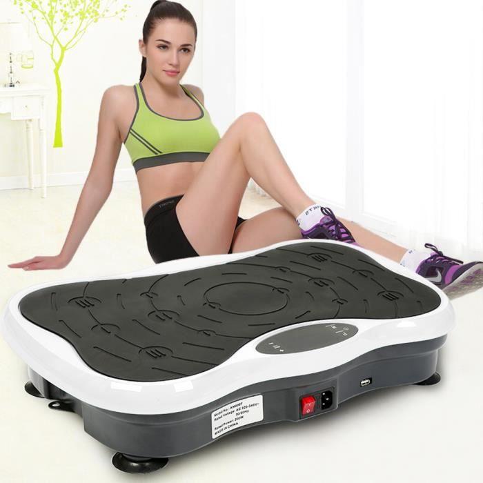 Fitness Plateforme Vibrante 200W pour Musculation et Perte de Poids -Noir