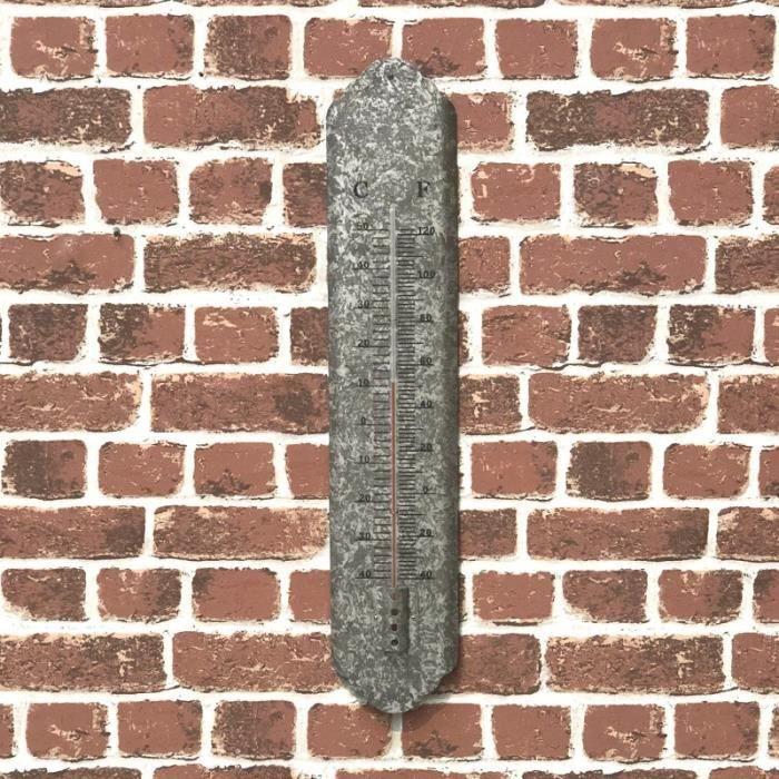 Style Ancien Grand Thermomètre Gris Murale Extérieur Intérieur 61 cm - 10-thermo