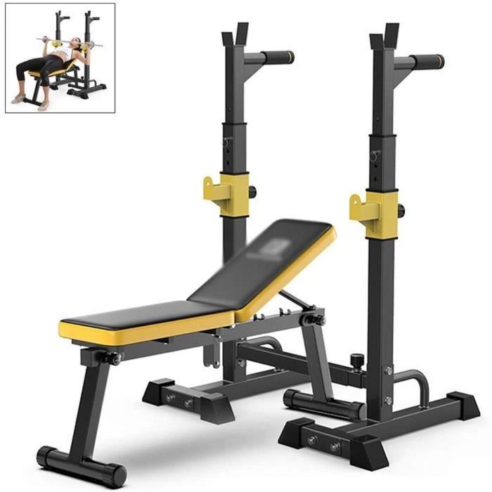 BANC DE MUSCULATION Fitness Support De Squat R&eacuteglable Et Banc De Musculation D&eacutevelopp&eacute Couch&eacute Domest76
