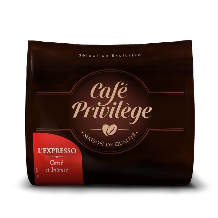 Café Privilège - Dosettes Café L'Expresso pour Senseo® - Mix Arabica + Robusta - Corsée et Intensité 10/10 (Lot de 144 dosettes)