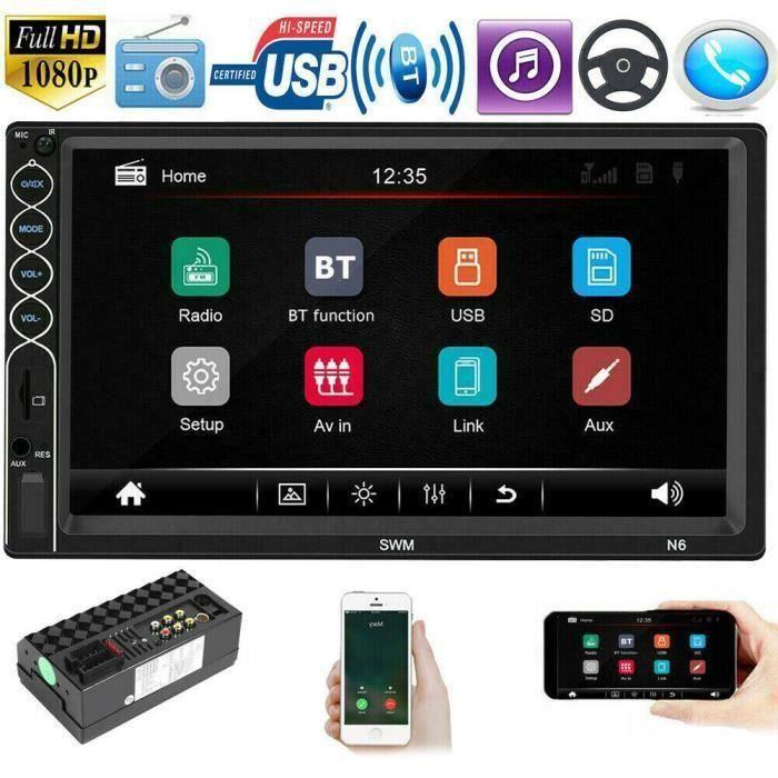 Autoradio Bluetooth Double 2 DIN GPS 7 Radio de voiture Android Navigation MP5 Bluetooth WIFI FM Radio QUI16579