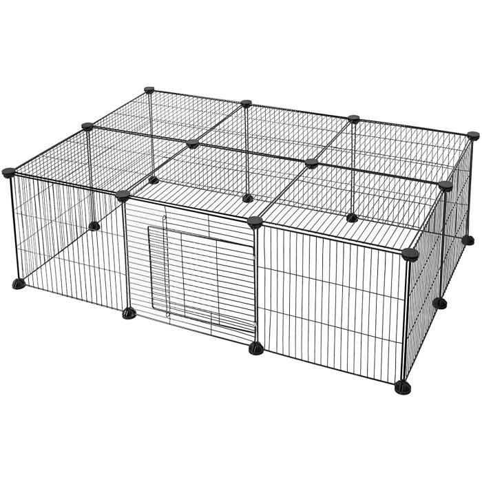 Enclos pour Chiens Clôture pour Petits Animaux Parc pour Lapins Cobayes Hamster DIY Métal Réglable avec Porte 16 Panneaux Noir 109 x