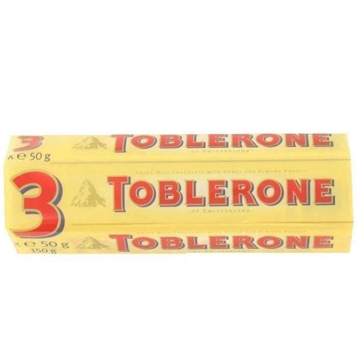 [LOT DE 5] TOBLERONE Chocolats Suisses au lait, tendre nougat au miel et aux amandes - 3x 50 g