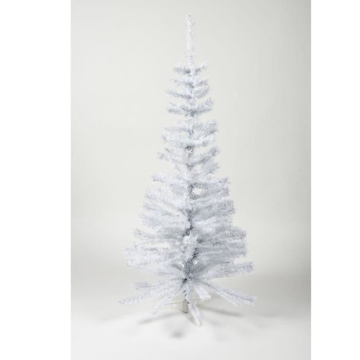 Sapin de Noël artificiel - H 120 cm - 150 branches - Blanc colorado - Avec pied plastique