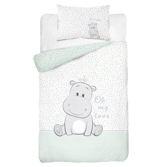 Parure de lit pour bébé 2 pièces 100 % coton Hippopotame - Dimensions : 100 x 135 cm - 40 x 60 cm - Certifié ÖkoTex Standard 100
