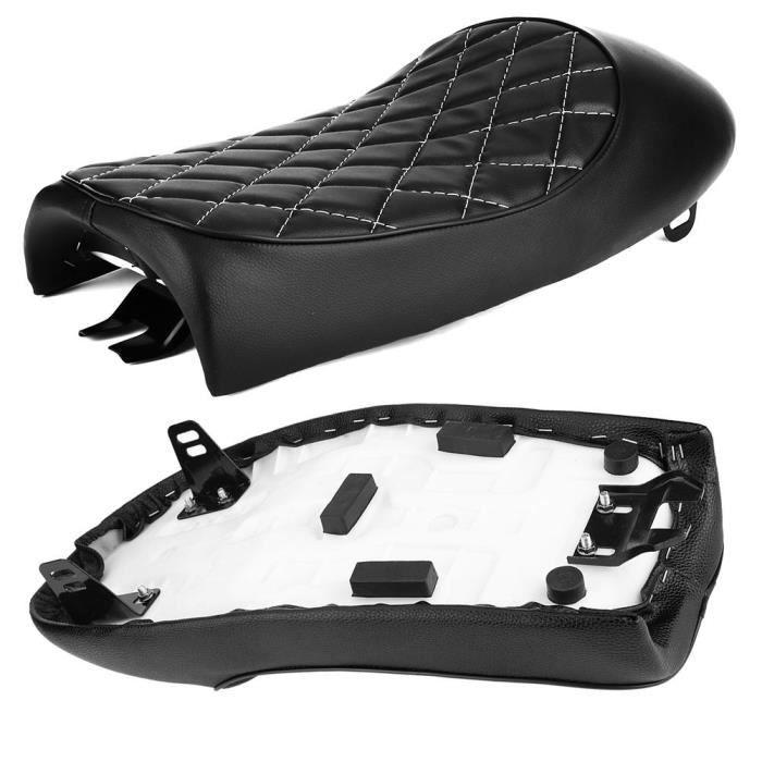 Drfeify Siège de moto Coussin de selle de bosse de siège Vintage en cuir PU noir de moto adapté pour Honda CG125 Cafe Racer