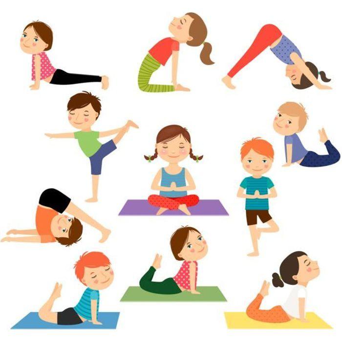 Poster Affiche Yoga Enfants Posture Hatha Yoga Asanas Meditation 61cm x 66cm