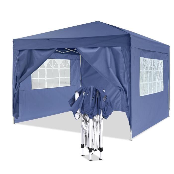 Tente de réception 3 x 3 m Tente Camping tente en aluminium Tube-Support avec 4 panneaux latéraux -Bleu
