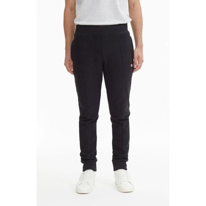Pantalon de survêtement Champion reverse weave noir avec chevilles élastiques.