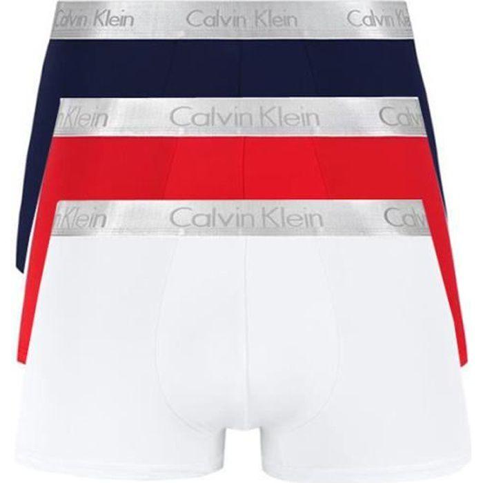 CALVIN KLEIN Pack de 3 Boxers Coton Shorty Homme Rouge-Marine-Blanc