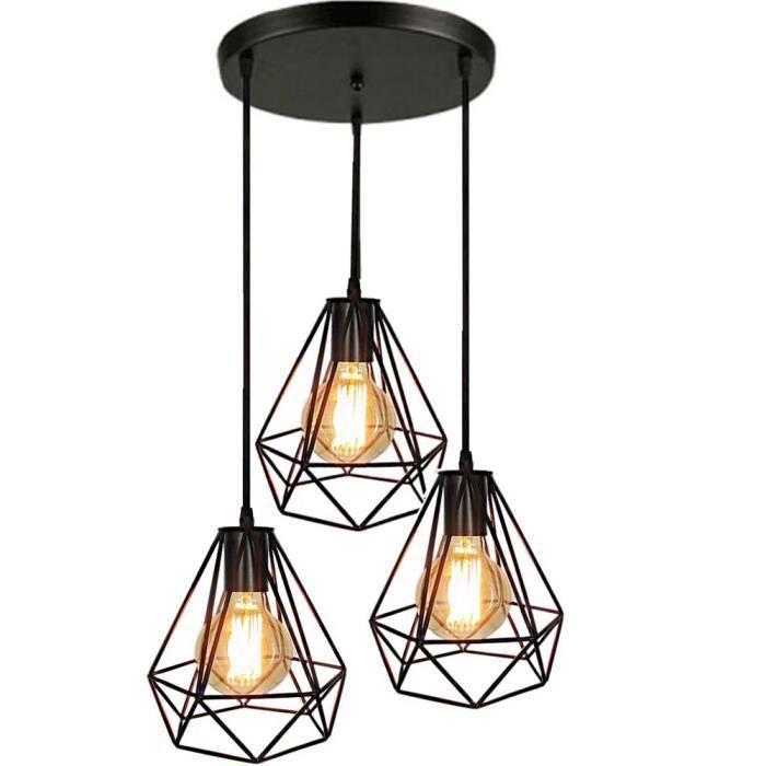 Rétro Style Industriel 3 Luminaire Lampe Suspendue Noir Abat-jour forme diamant E27 Noir