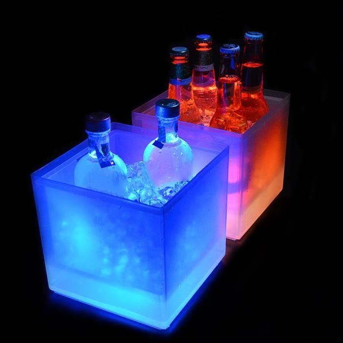 Seau à glace LED pour KTV bar, refroidisseur à vin, champagne, eau, jus,vin Champagne Transparent Luminescent (Coloré)