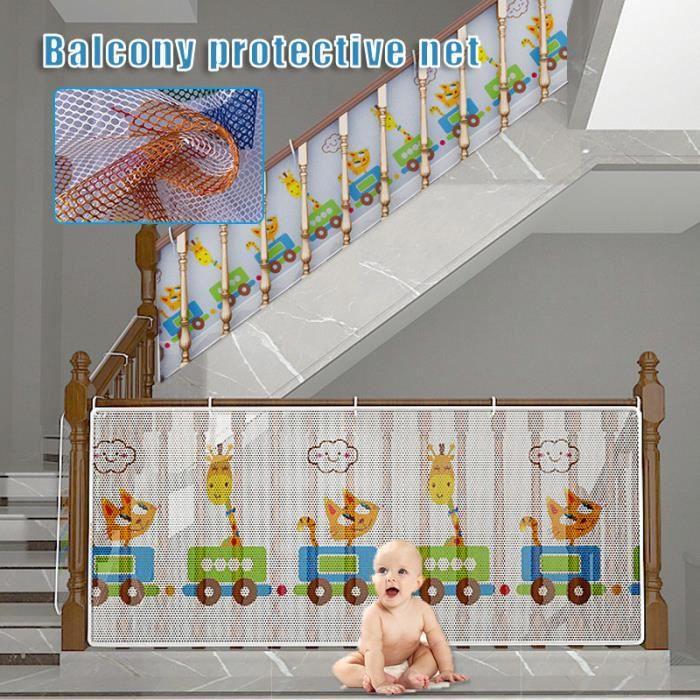 Filet de Protection Balcon pour Bébé et Enfant, Filet de Sécurité pour Balcon et Escalier, Solide et robuste - 200*77cm