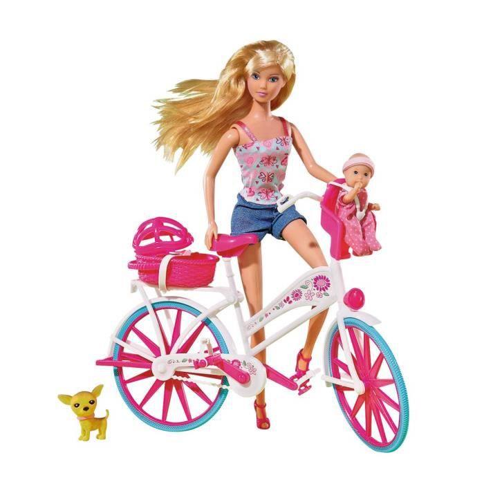 Simba,105739050 - Poupée Steffi Love - Balade à Vélo - Bébé et Chien Inclus - 29 cm