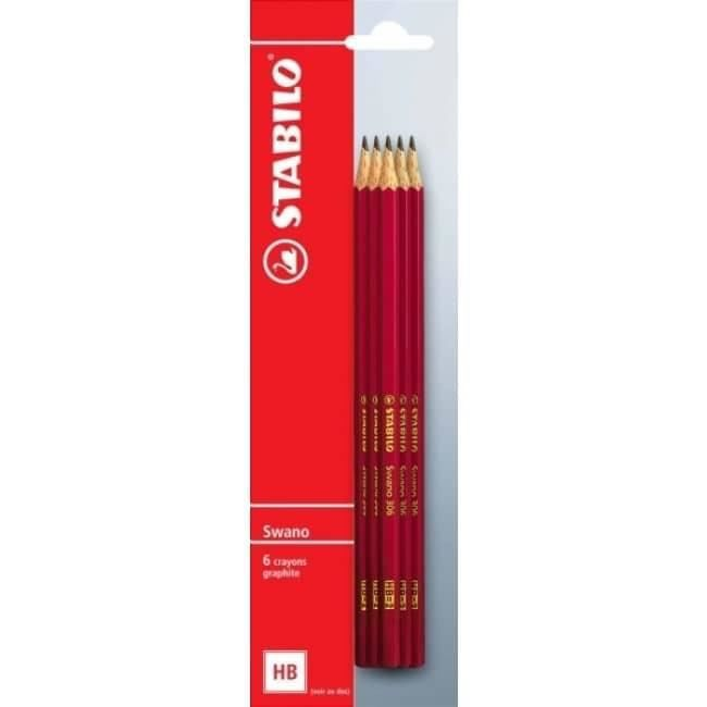 STABILO Blister de 6 Crayons Graphites Swano - Bout gomme - HB