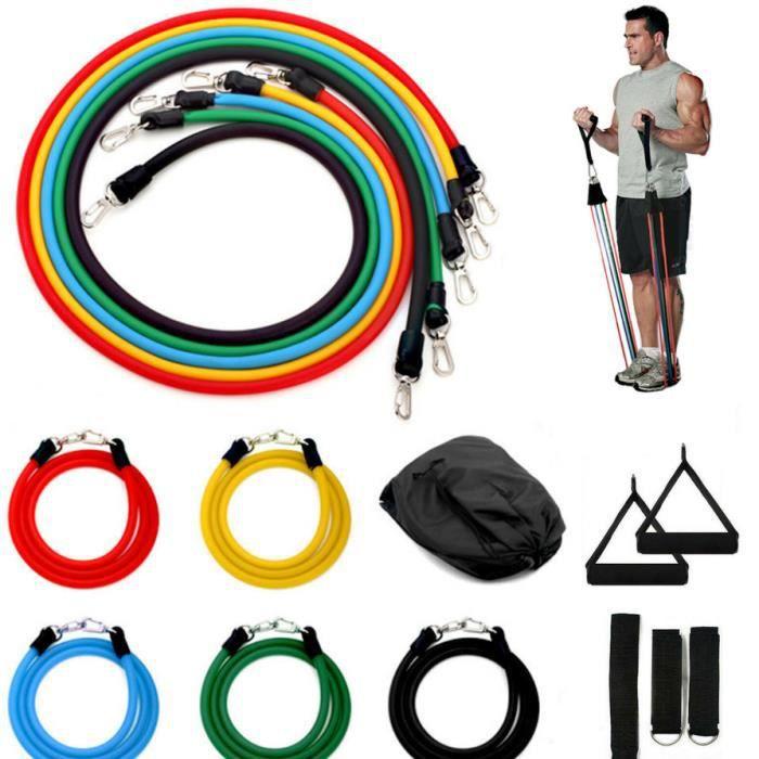 TEMPSA Bandes de Resistance Elastiques 11pcs Musculation Latex Fitness Exercice