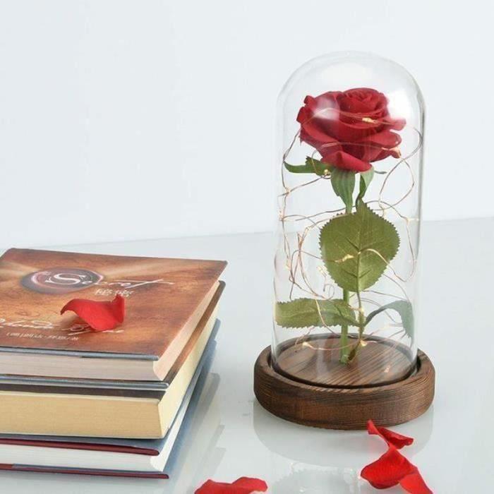 AWY18144-La Rose Eternelle et lumière LED -Belle et la bête-,Meilleur Cadeau pour la Saint Valentin la Fête d'Anniversaire la Fête
