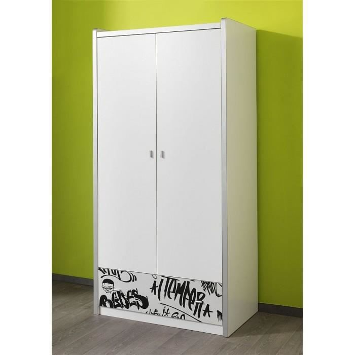 armoire dressing enfant 2 portes bonny dispon achat. Black Bedroom Furniture Sets. Home Design Ideas