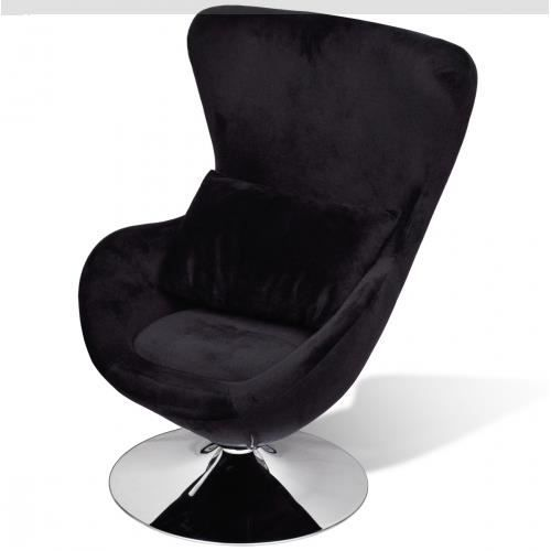 chaise uf pivotante avec coussin noir achat vente chaise noir cdiscount. Black Bedroom Furniture Sets. Home Design Ideas