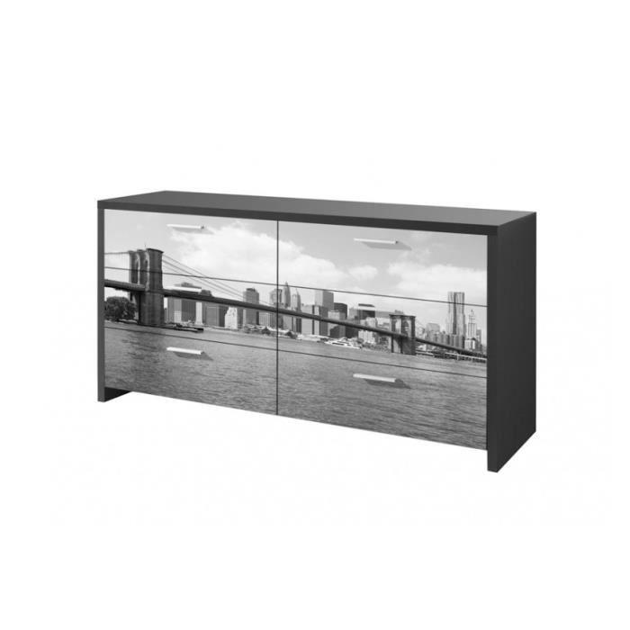 Commode Noire New York Option Meuble Avec Miroir Achat Vente Commode De Chambre Commode Noire New York Opti Cdiscount