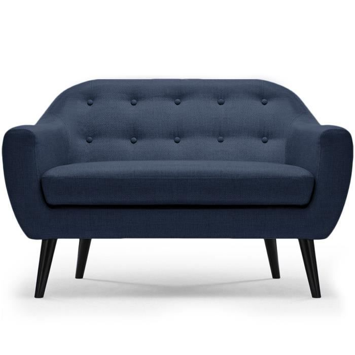 canap style scandinave 2 places dita tissu bleu achat vente canap sofa divan cdiscount. Black Bedroom Furniture Sets. Home Design Ideas