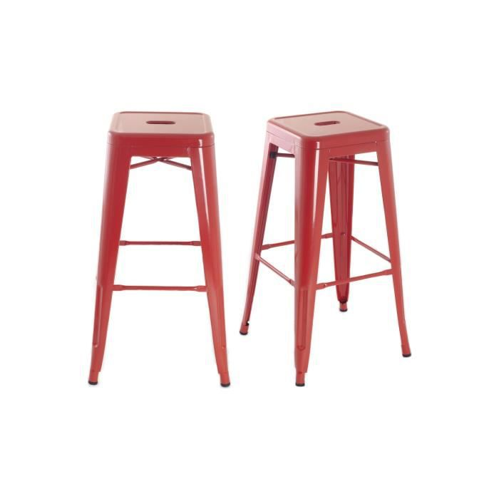 tabouret de bar manhattan lot de 2 rouge achat vente tabouret de bar soldes cdiscount. Black Bedroom Furniture Sets. Home Design Ideas