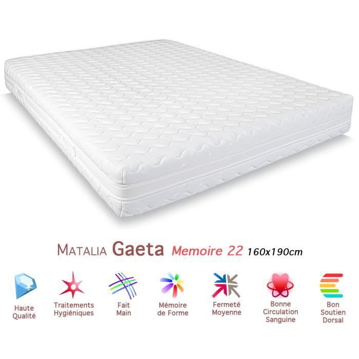 matelas matalia gaeta m moire de forme 22 160x190c achat vente matelas cdiscount. Black Bedroom Furniture Sets. Home Design Ideas