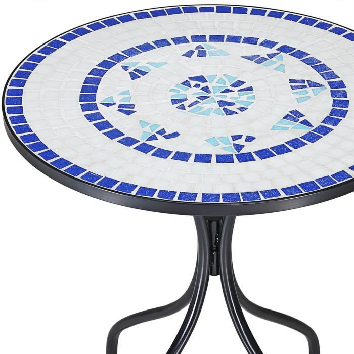 table mosaique bleu 70x60cm jardin bacon achat. Black Bedroom Furniture Sets. Home Design Ideas