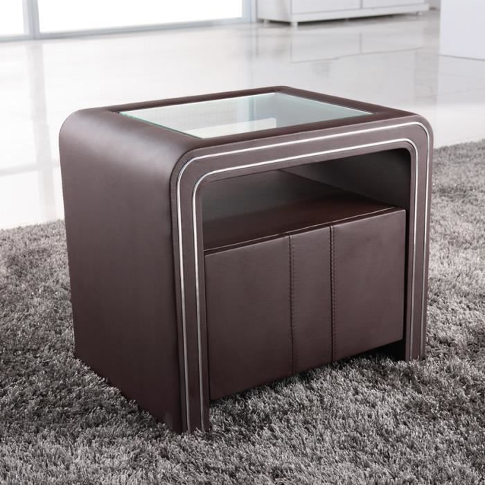 table de chevet design en simili cuir marron vi achat vente chevet table de chevet design. Black Bedroom Furniture Sets. Home Design Ideas