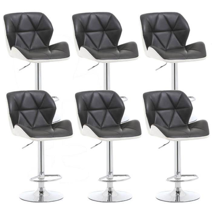 noir blanc lot de 6 tabourets de bar reglable achat vente noir blanc lot de 6 tabourets de. Black Bedroom Furniture Sets. Home Design Ideas